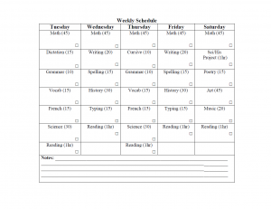 Grade 5 Weekly homeschool schedule