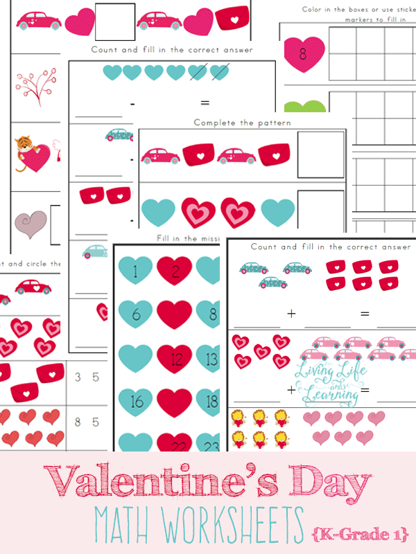 Valentines Day Math Worksheets – Maths Printable Worksheets for Grade 1