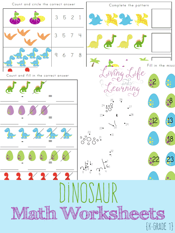 Dinosaur Kindergarten Math Worksheets – Picture Math Worksheets