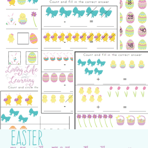 Super cute Easter Kindergarten math worksheets