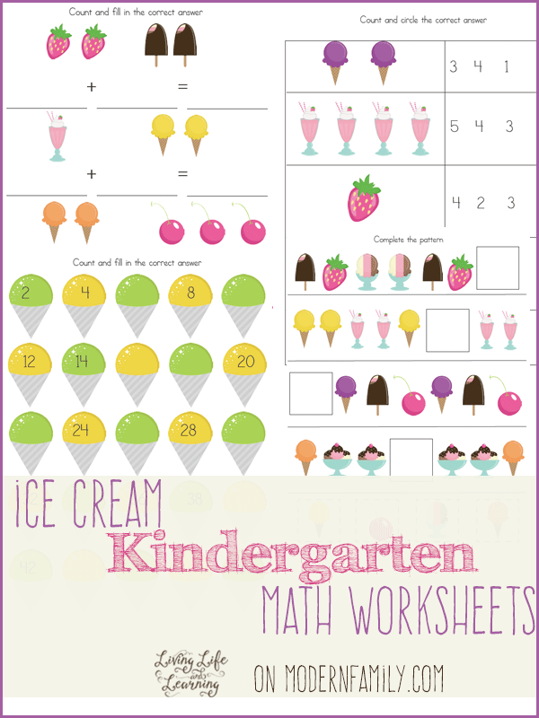 12 Pages Of Kindergarten And 1st Grade Math Free Printables Your. Ice Cream Kindergarten Math Worksheets. Printable. Printable Worksheets For Math At Mspartners.co
