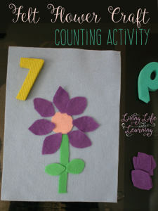 Have fun counting petals with the simple felt flower craft counting activity