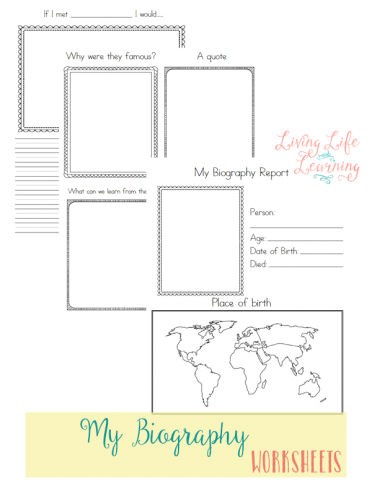 Use these biography worksheets when your student researches a famous person
