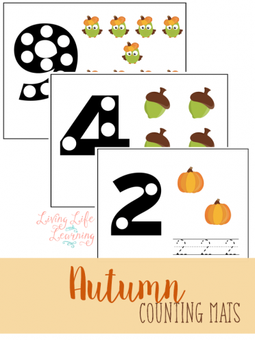 Practice counting with these cute fall counting mats