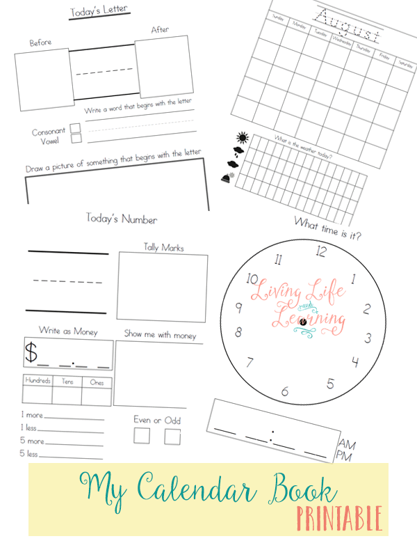 My Calendar Book Printable~ For Kindergarten or First Grade
