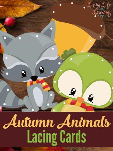 Autumn Animals Lacing Cards