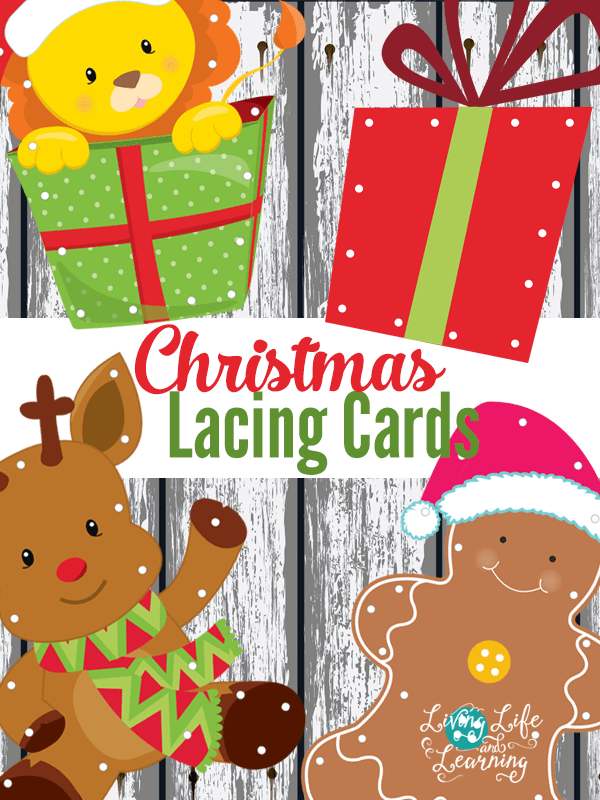 These Christmas lacing cards are great to practice fine motor skills for your little one