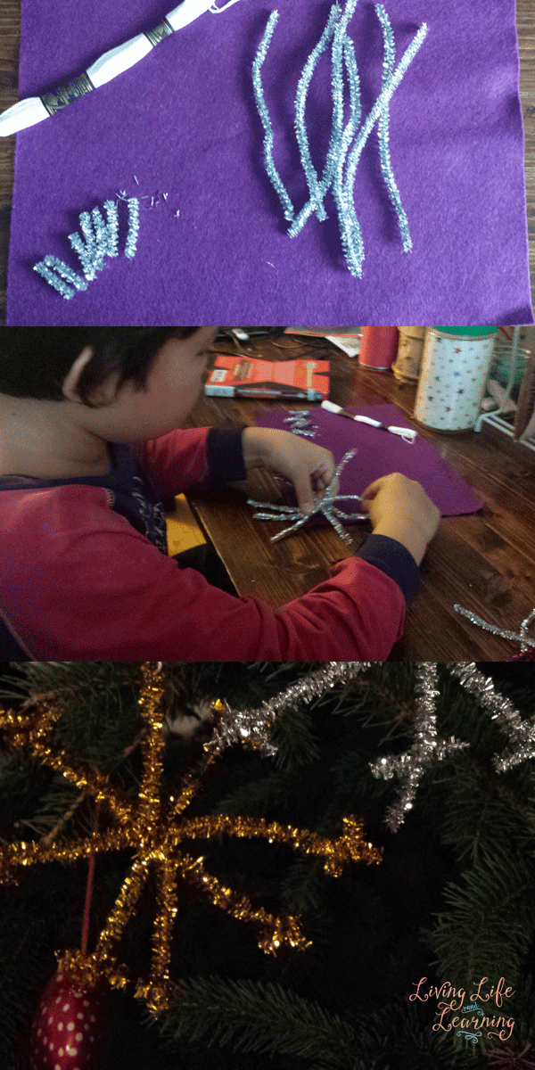 Pipe Cleaner Snowflake Ornaments for Kids