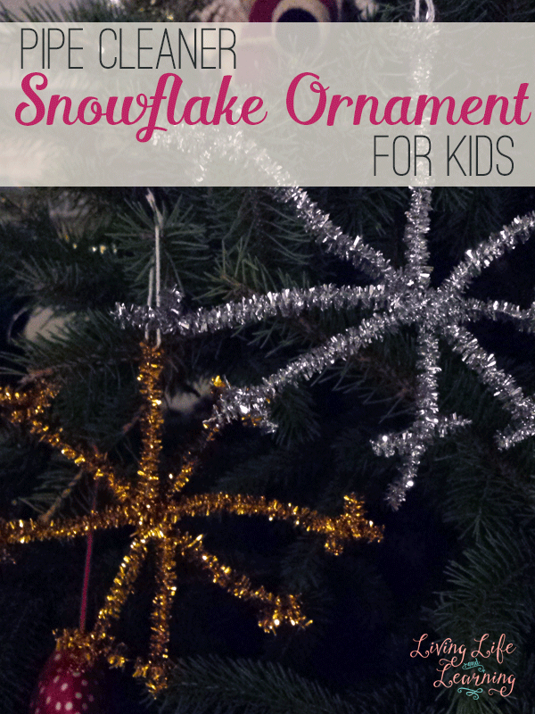 Kids can make their own ornaments with this easy pipe cleaner snowflake ornament