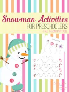 Snowman Activities for Preschoolers and Snowman Tracing Worksheet