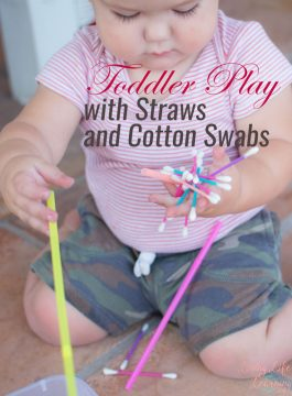 Toddler Play with Straws and Cotton Swabs