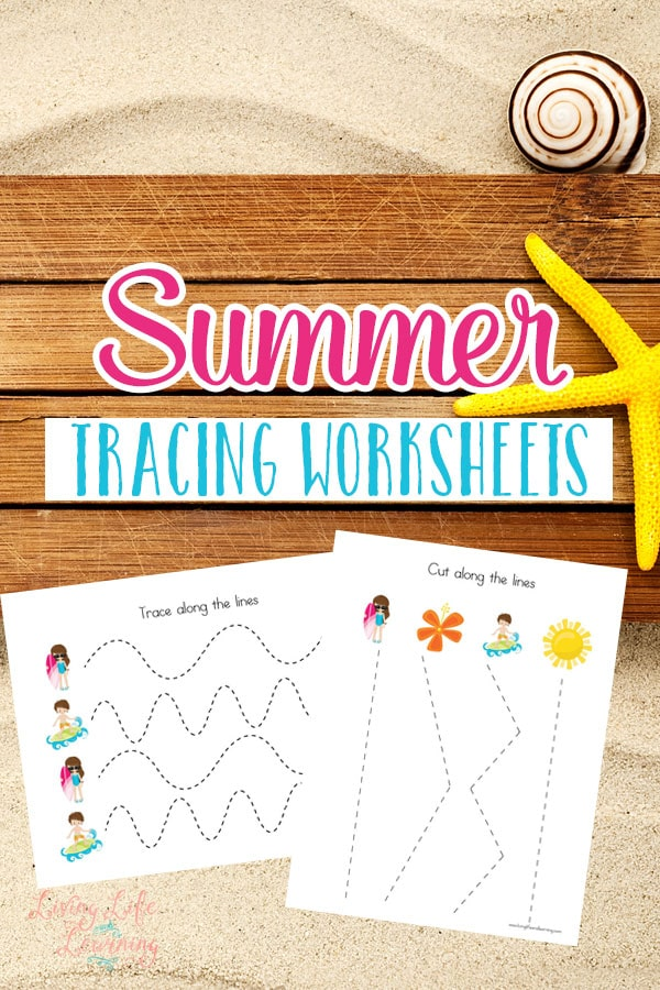 Start working on those writing skills with these summer tracing worksheets for helping pre-writers get control of the fine motor skills.