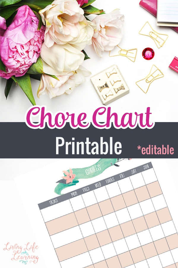 Get your kids organized and motivated with their housework with this chore chart for kids printable