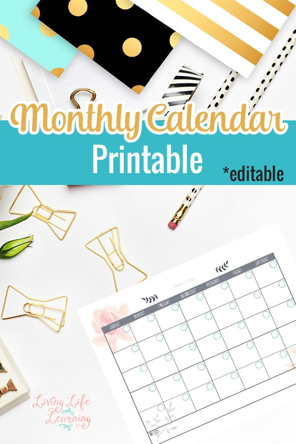Get organized with this editable monthly calendar printable and never miss an appointment again