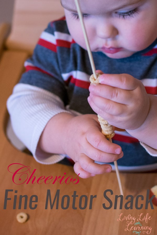 Looking for a fun, engaging, and simple way to work on your toddlers fine motor skills? Try this Cheerios Fine Motor Snack! My son thought it was amazing :)
