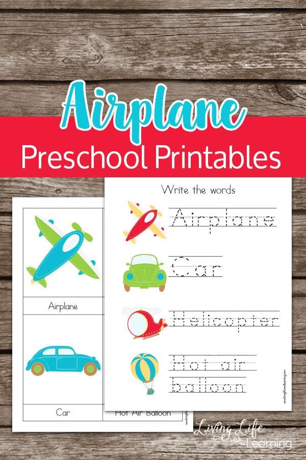 Airplane Preschool Printables