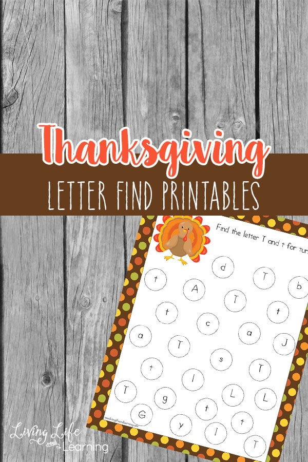 Have fun find different letters in this Thanksgiving letter find printables, fun for preschoolers and kindergarten students