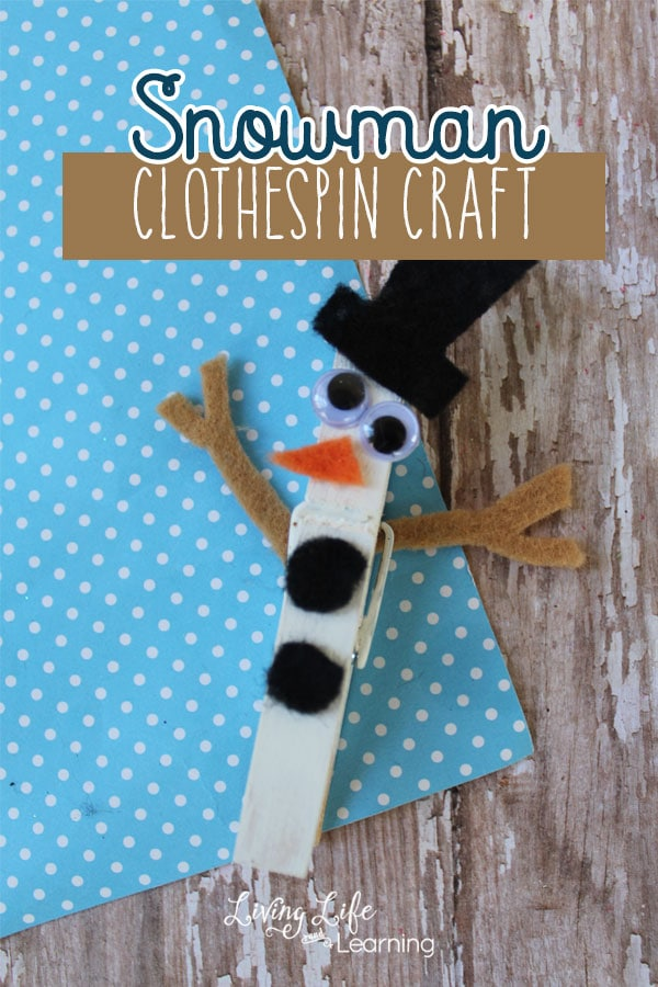 Clothespin Snowman Craft for Kids
