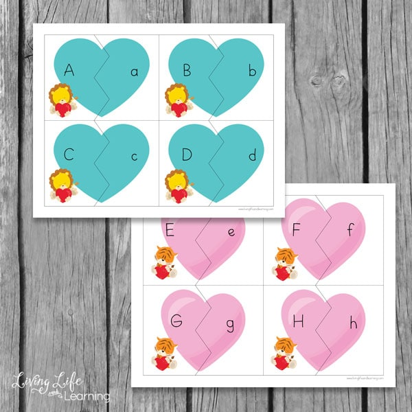 have fun matching lower and uppercase letters with these adorable valentines day letter puzzles