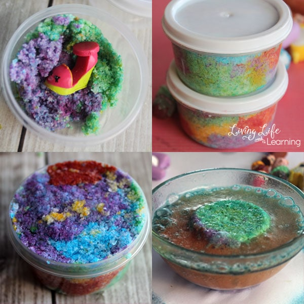 The best part is by making these Rainbow Surprise Bath Bombs yourself at home you know that the ingredients are safe for your sweet kids and you can also customize the scents, colors, and shape.