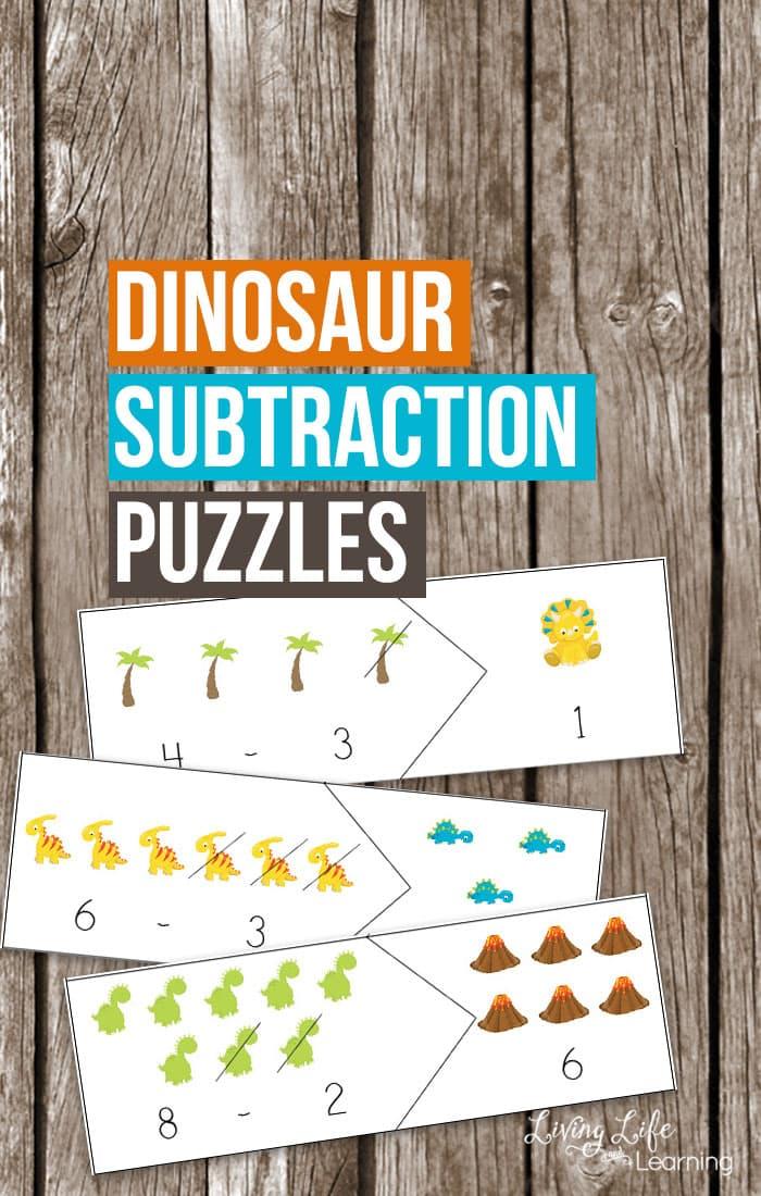 Dinosaur Subtraction Puzzles