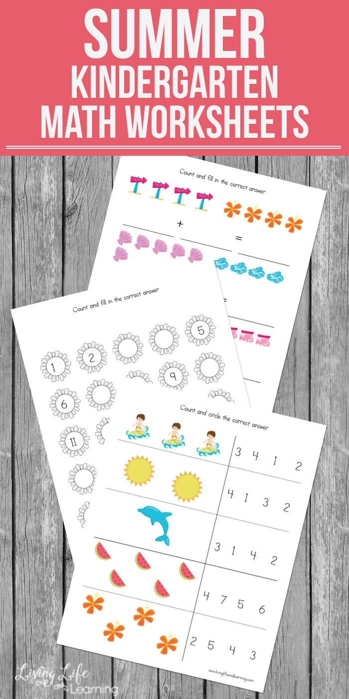My daughter loves these colorful math worksheets. Have fun and keep up those math skills with these cute summer kindergarten math worksheets to keep summer slide from happening.