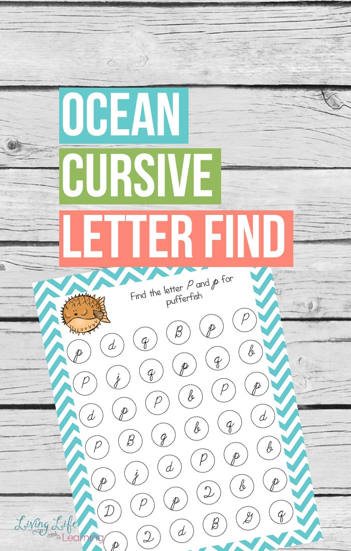 Get these ocean cursive letter find printables to start working on your cursive letter recognition for beginning cursive writers. It's not a dead skill.