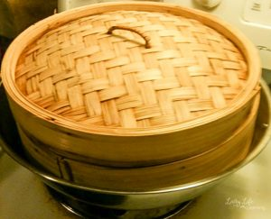 Bamboo steamer to make Coconut Pandan Sticky Rice Recipe