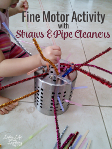 My daughter loves playing with straws so I grab these pipe cleaners and our utensil holder and created this fun fine motor activity with straws and pipe cleaners. I'm pretty sure everyone has something like this in your kitchen, you could also use a plastic strainer.