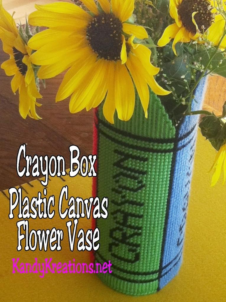 Crayon Box Flower Vase Plastic Canvas Pattern 3