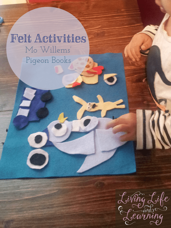 We made our own Felt Board Stories: Mo Willems' Pigeon books because we love the Pigeon and Duckling books, my daughter still enjoys playing with these.
