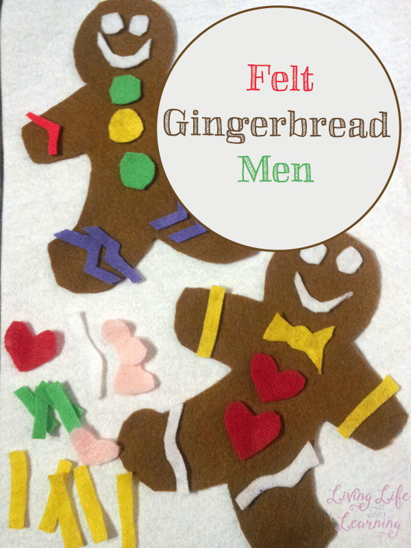 This felt gingerbread men craft is a great way to dress them up anyway you like - a fun a quiet activity for preschoolers