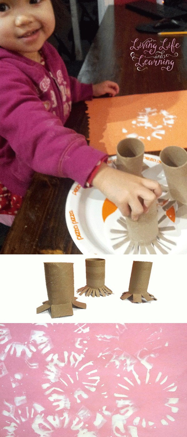 Make your own toilet paper roll stamps to make your own snowflakes