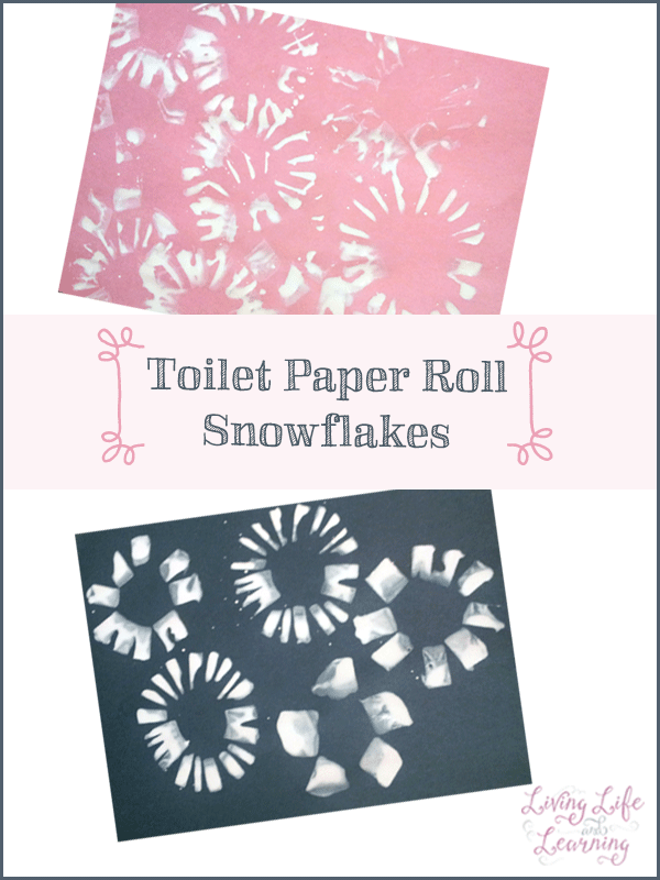 A fun toddler activity: make your own snowflake stamps with toilet paper rolls