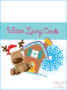 A great activity to practice fine motor skills: winter lacing cards. Create your own fine motor activity with these printable winter lacing cards. #preschool #winter #kidsprintables