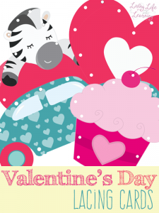 Practice fine motor skills with Valentine's day lacing cards
