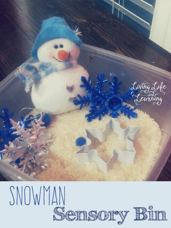 Snowman sensory bin for toddlers and preschoolers