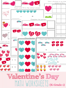 Cute Valentine's day math worksheets for kindergarten and grade 1 students