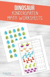 Fun Dinosaur Kindergarten Math Worksheets
