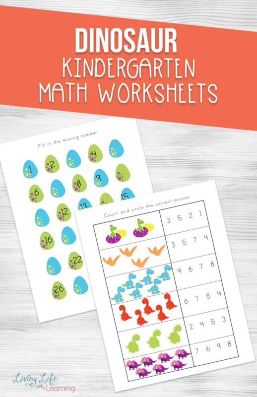Fun Dinosaur Kindergarten Math Worksheets