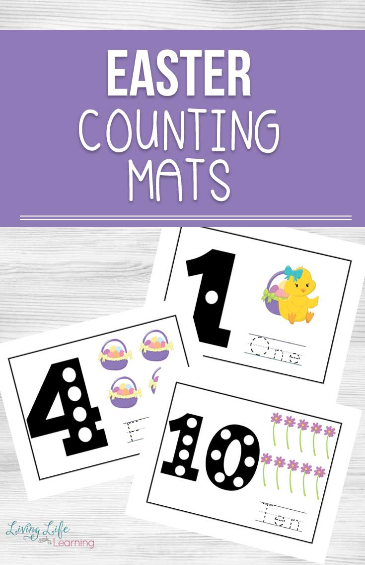Try these Easter Counting Mats and get your kids excited about counting with these fun Easter themed counting activities your kids will love. #Easter #Counting #preschool #toddlers #spring #kidslearning #homeschool