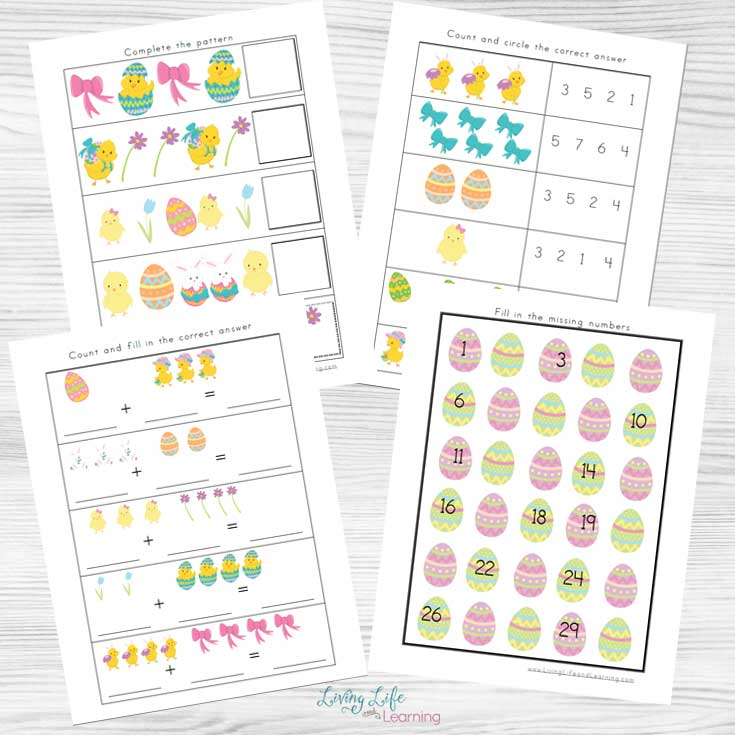 Try one of these Easter kindergarten math worksheets in a fun Spring chick theme that your kids will love.