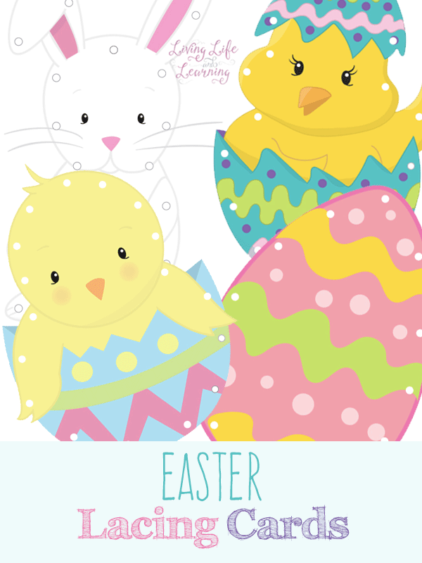 Fine motor practice with these adorable Easter lacing cards