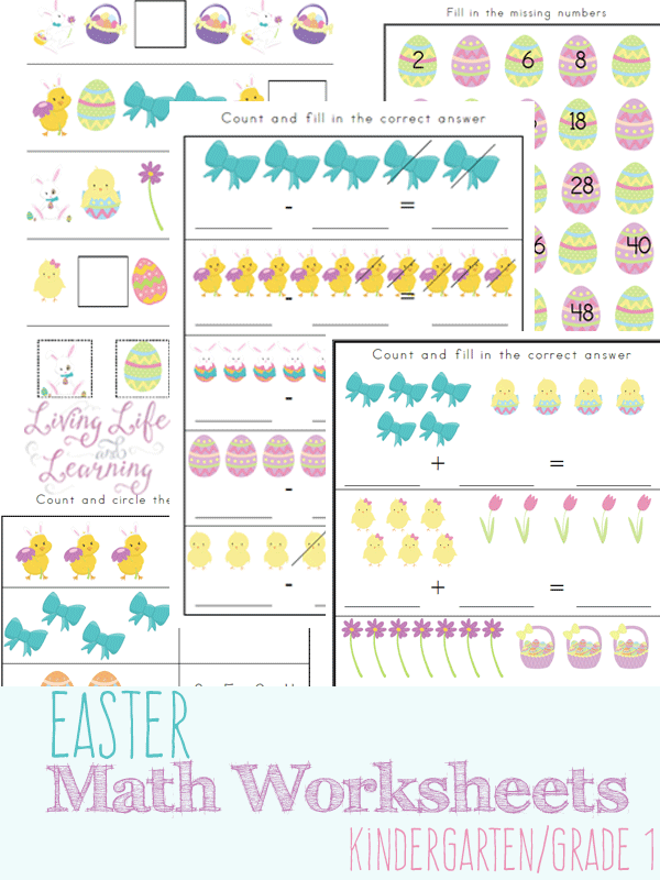 Super cute Easter Kindergarten math worksheets for number sense, addition, subtraction and patterns