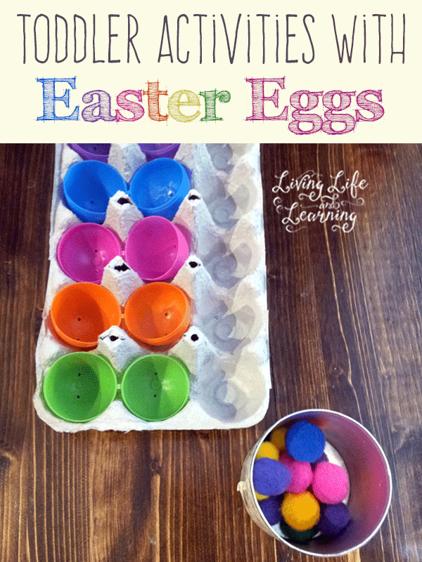 Frugal learning toddler activities using Easter eggs