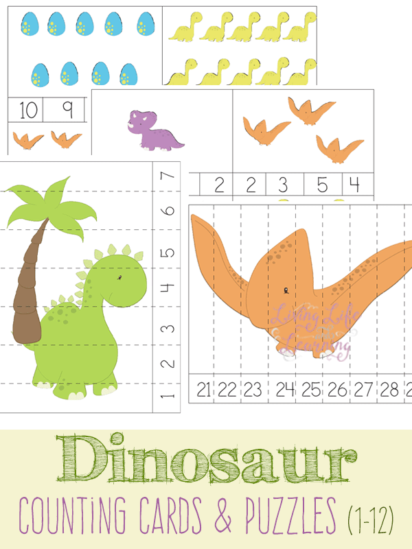 dinosaur counting cards and puzzles. Black Bedroom Furniture Sets. Home Design Ideas