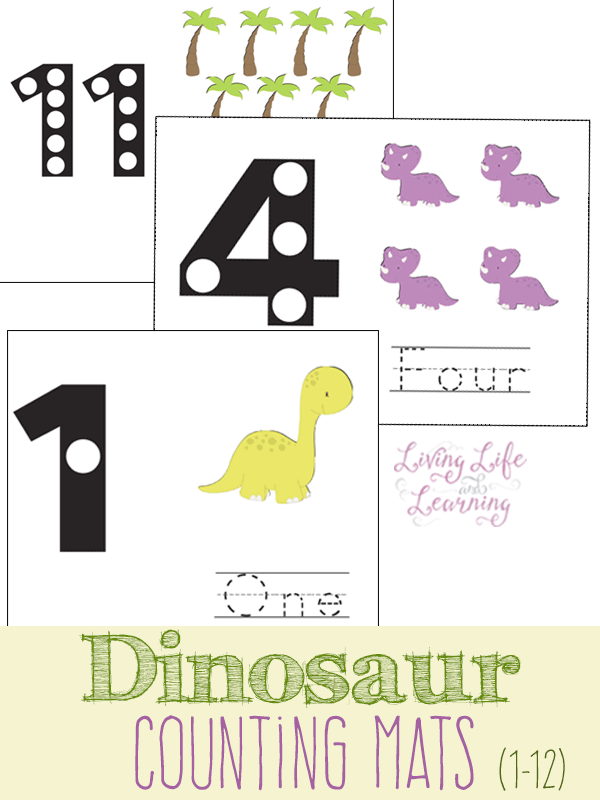 Cute dinosaur counting cards to count from 1 to 10 using a fun way to get counting, it won't seem like school