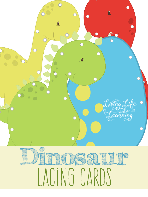 Fun fine motor practice with these cute printable dinosaur lacing cards that you can create yourself for your little dinosaur lover.