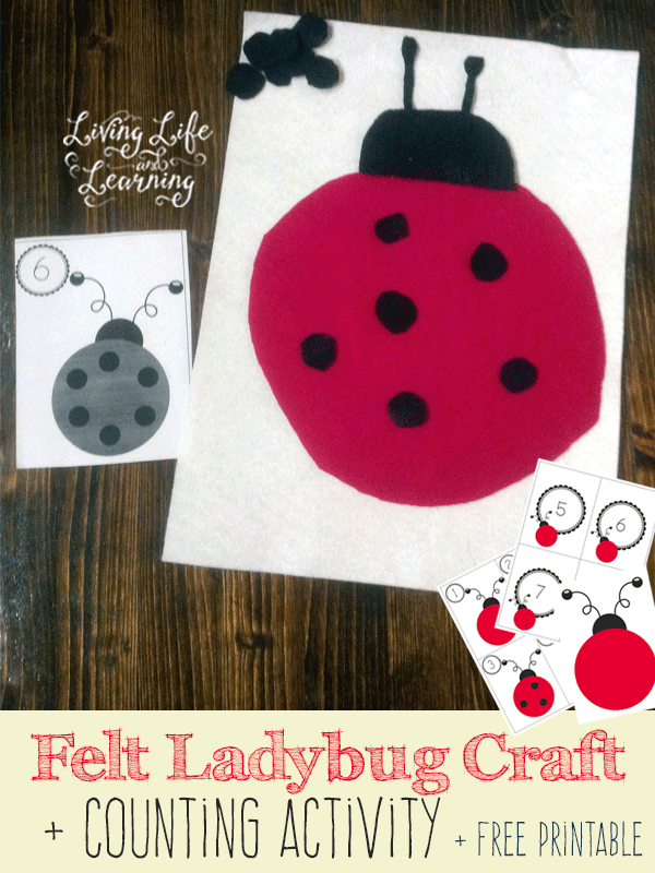 Felt Ladybug Craft and Counting Activity