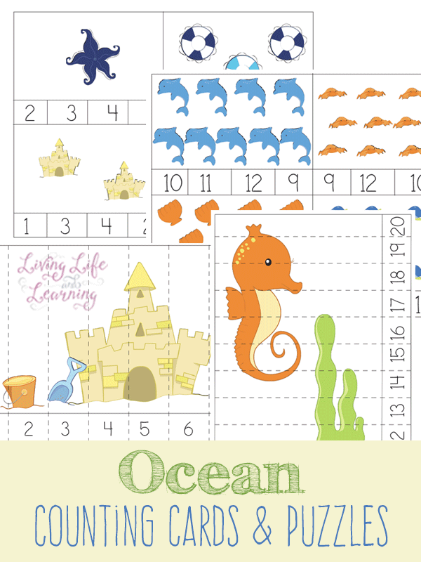 Adorable Ocean Counting Cards and Puzzles for preschoolers and kindergarten students. Bring the ocean inside.